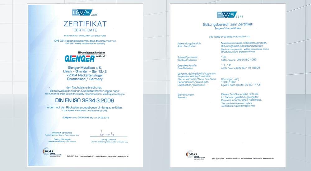 Zertifikate – Gienger Metallbau